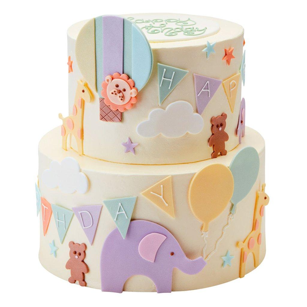 Детский двухъярусный торт с животными
