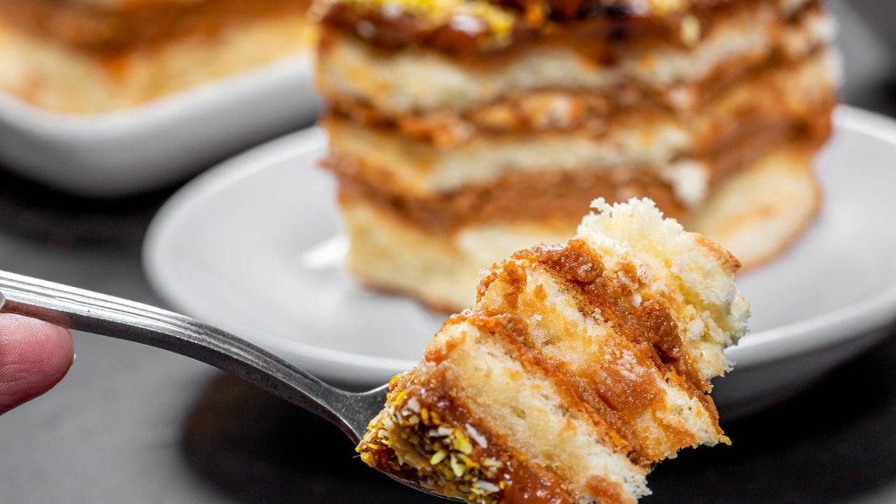 Бисквитное пирожное со сгущенкой