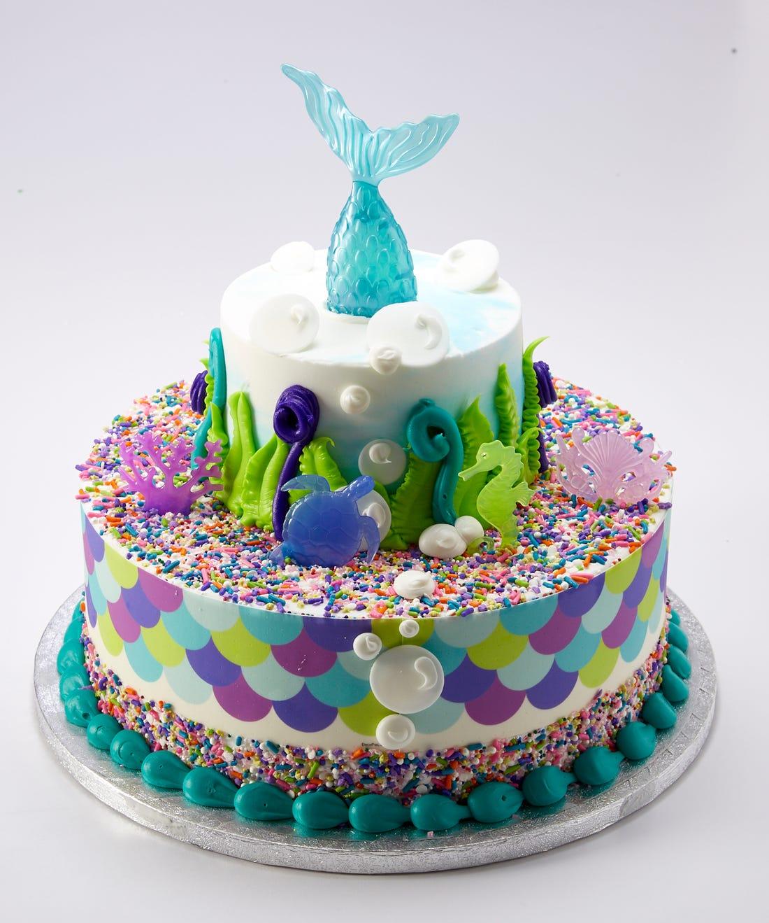 Двухъярусный торт русалка