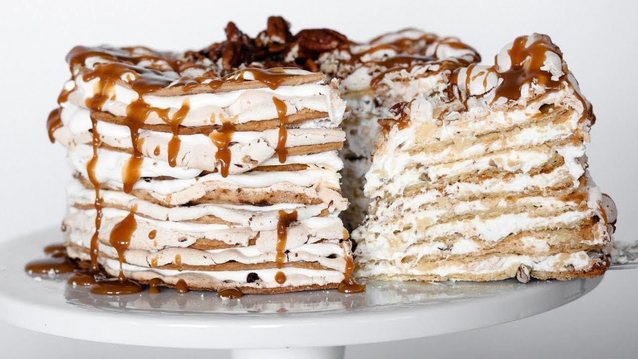 Торт из безе с карамелью